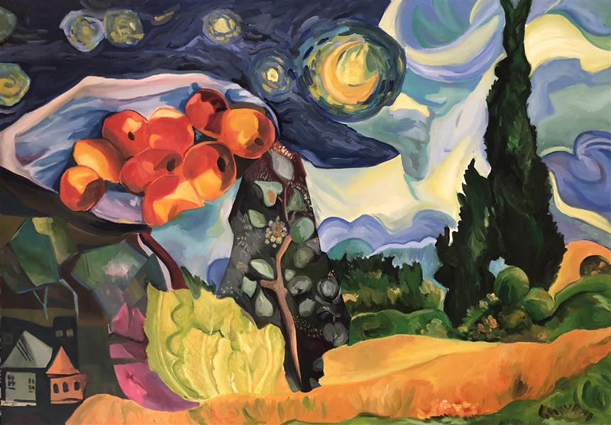 هنر نقاشی و گرافیک محفل نقاشی و گرافیک Mariam_moeini #مریم معینی #شب پر ستاره #سال ۹۱ #رنگ روغن روی بوم # درخت