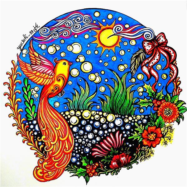 هنر نقاشی و گرافیک محفل نقاشی و گرافیک Azam-yousefi #نقاشی با خودکار رنگی و ماژیک ...سایز A4،اعظم یوسفی