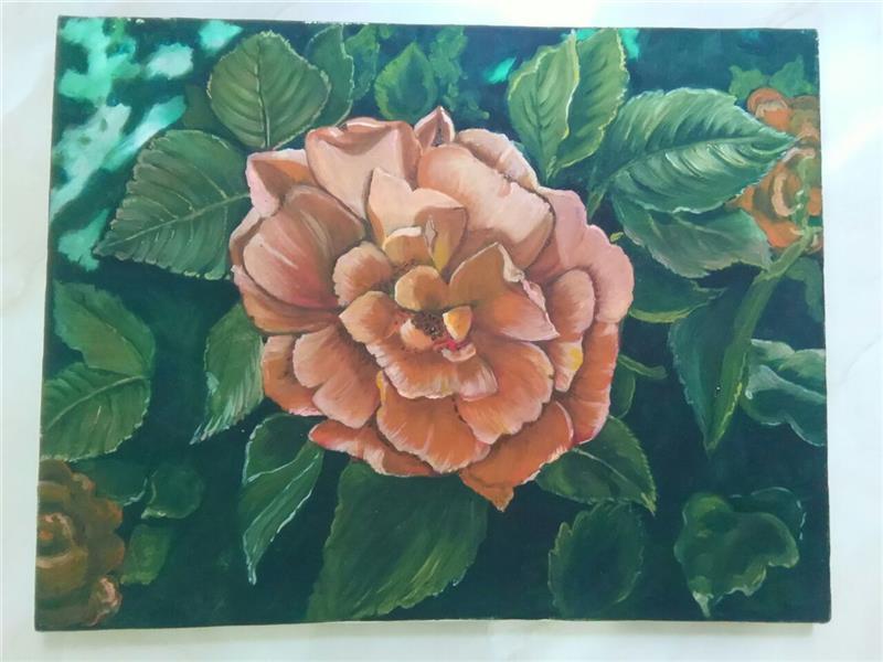 هنر نقاشی و گرافیک محفل نقاشی و گرافیک گلستان گل رز نارنجی ، تکنیک ، رنگ و روغن روی بوم ،سایز ۴۵ در ۳۵ .قیمت  750000. بدون قاب .