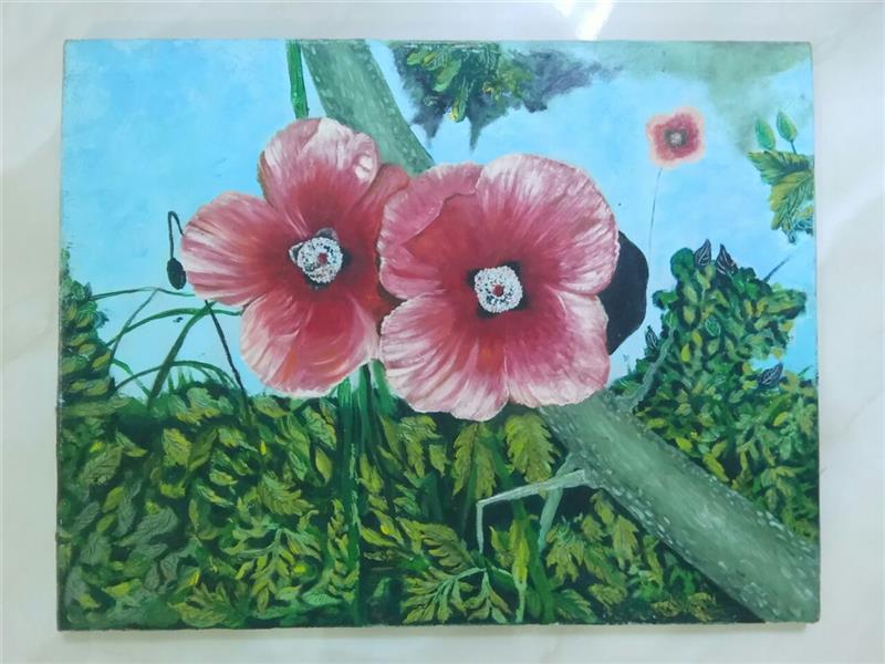 هنر نقاشی و گرافیک محفل نقاشی و گرافیک گلستان نام اثر ؛ لبخند شقایق های وحشی ، تکنیک؛ رنگ و روغن روی بوم ، سایز حدود ۴۵ در ۳۵. قیمت ۷۵۰۰۰۰ تومان ، بدون قاب .