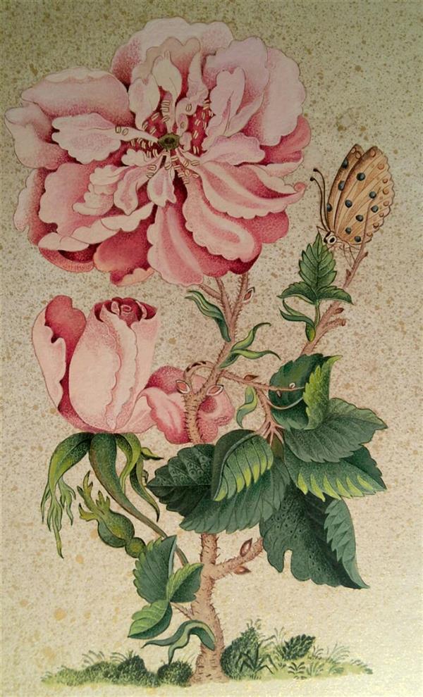 هنر نقاشی و گرافیک محفل نقاشی و گرافیک گلستان گل و پروانه ، مثنی سازی از آثار قدما به شیوه ی گل و مرغ ،  تکمیل اثر مربوط به سال ۹۶