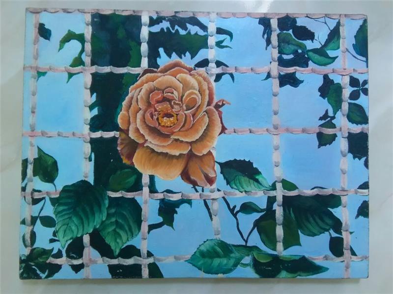 هنر نقاشی و گرافیک محفل نقاشی و گرافیک گلستان گل رز گرفتار ، رنگ و روغن روی بوم ، ۴۵ در ۳۵