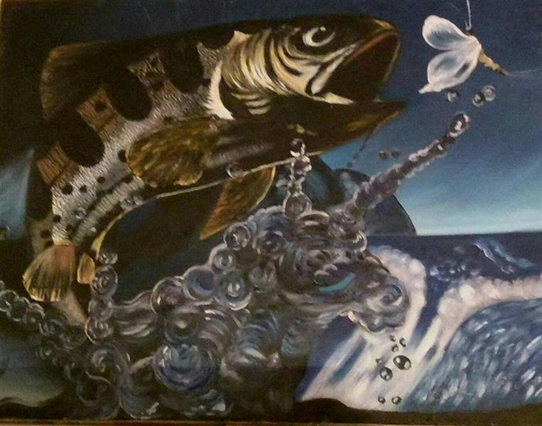 هنر نقاشی و گرافیک محفل نقاشی و گرافیک گلستان عنوان ، ماهی و شاپرک،