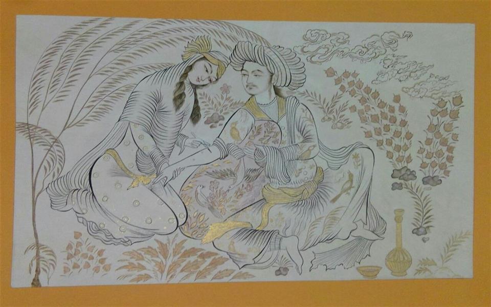 هنر نقاشی و گرافیک محفل نقاشی و گرافیک گلستان مثنی سازی ، از اثر استاد رضا عباسی  دوره صفویه