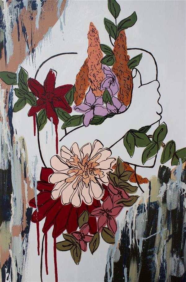 هنر نقاشی و گرافیک محفل نقاشی و گرافیک سیده نسترن جلیلی شانی رنگ اکرولیک،نسترن جلیلی،بوم،ریشه در گل
