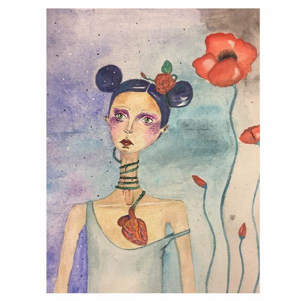 هنر نقاشی و گرافیک محفل نقاشی و گرافیک زهرا یعقوبی آبرنگ  #red_poppy #heart