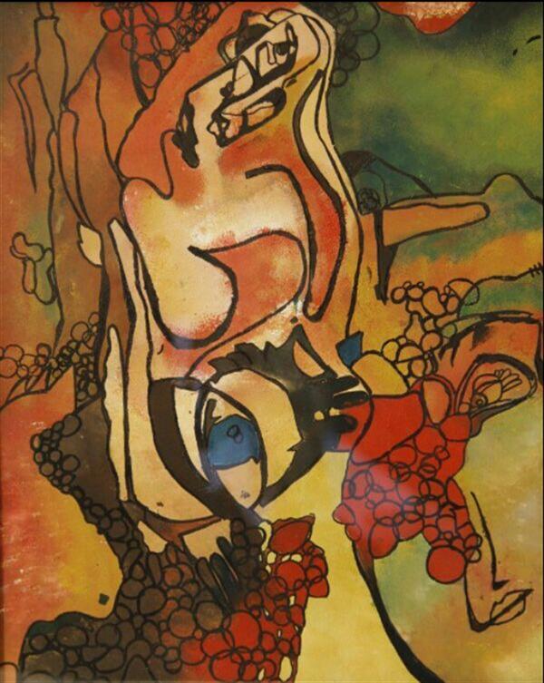 هنر نقاشی و گرافیک محفل نقاشی و گرافیک شهرزاد فقانی شیاده ترافارد اكرليك ١٣٩١ ادم در ادم اثر شهرزاد فقاني