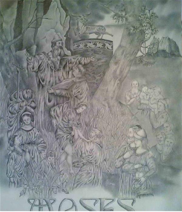 هنر نقاشی و گرافیک محفل نقاشی و گرافیک امیر عباسی مقدسی سیاه قلم و پاستل،مقوا،۱۰فرمان موسی،امیر عباسی مقدسی
