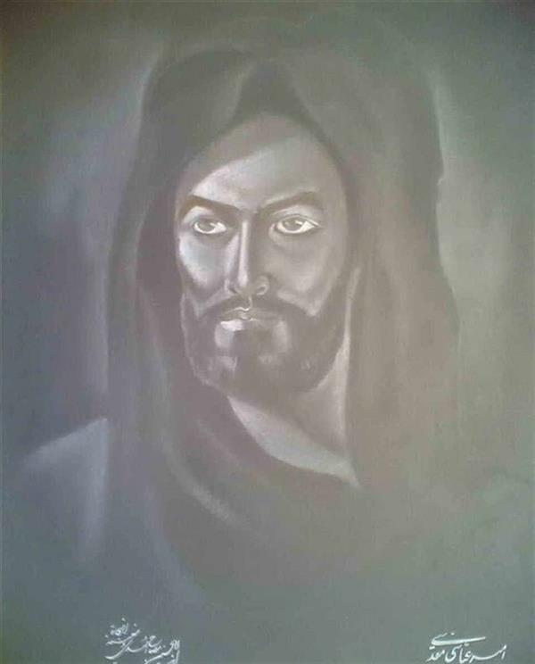 هنر نقاشی و گرافیک محفل نقاشی و گرافیک امیر عباسی مقدسی Conte pencil,pastel تمثال مبارک امام حسین