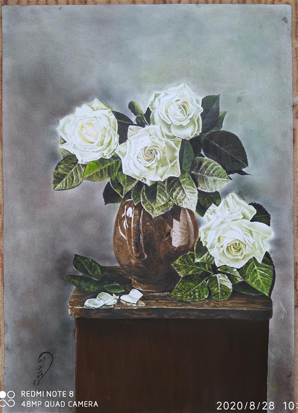 هنر نقاشی و گرافیک محفل نقاشی و گرافیک مرضیه کدیور نقاشی#مدادرنگی گلهای رز سفید.مدت خلق اثر 2 سال مرضیه کدیور