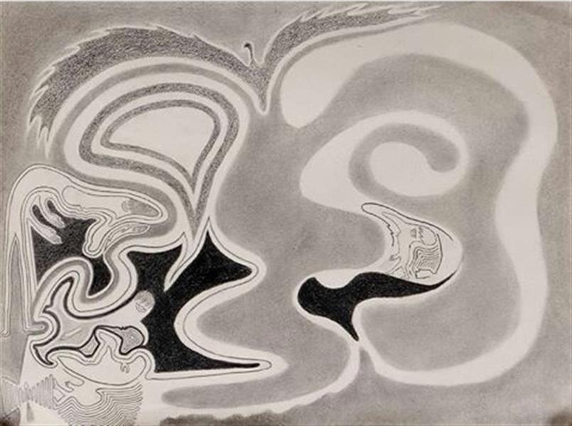 هنر نقاشی و گرافیک محفل نقاشی و گرافیک حسن جوکار  نام:صورت تفسیر:منظور کشیدن سیاهی سراب است_آدم بالای تصویر که خم شده و پای راستش را به طرف سراب برمیداره سراب دور میشه منظور نرسیدن است و پای چپش مخالف پای راست را نشان میدهد منظور گم شدن است منظور سر در گمی است منظور از جدای دست از بدن خستگی است توی سیاهی سراب که دستش رو به سویش دراز است تصویری کوچک از خودش است که سرجدا شده نگاهش میکند منظور تصویر سازی دروغین است که گاهی انسان در سر میپروراند تصویری که ساخته را فقط خودش میتواند باور کند اتش و تمع حقیقت را نمیزارد ببیند  پاین تر از مردی که رو به سراب قدم برداشته انسانی با دماغ گرد مانند پشت به روی خود به سمت کمرش رویش را برگردانده است که دورش را سیاهی محاصره کرده منظور از سیاهی بد بینی است و لایه هایه پاین دماغش که انعکاس لب و دماغش است نشانه عمرش است که پر شده و خط آخر لحظه آخر زندگیش را نشان میدهد  در پاین سمت چپ صفحه تصویر دیگری است که خط شکل گرفته صورتش به دور سیاهی بد بینی تاب خورده است و سفیدی به دور سیاهی به وجود آورده است منظور شکل نگرفتن چشمش این است که هنوز به دنیا نیامده ...