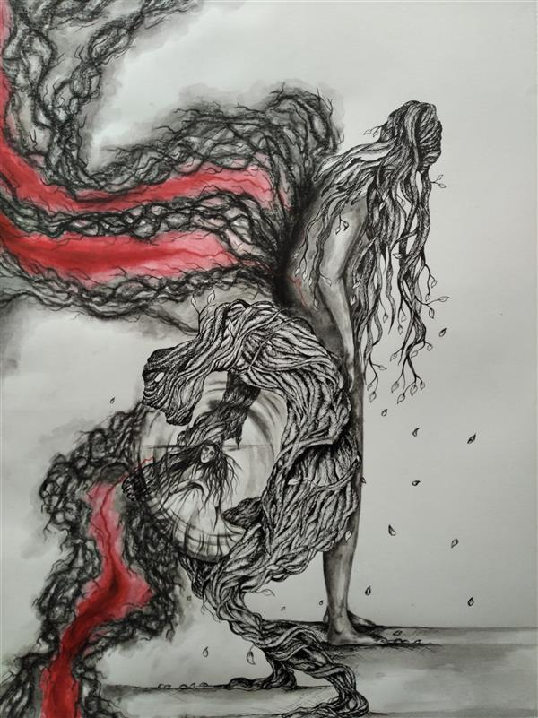 هنر نقاشی و گرافیک محفل نقاشی و گرافیک پریسا عزیزی نام اثر:درخت شو،۱۳۹۸،اثر از پریسا عزیزی،تکنیک:قلم فلزی و مرکب.