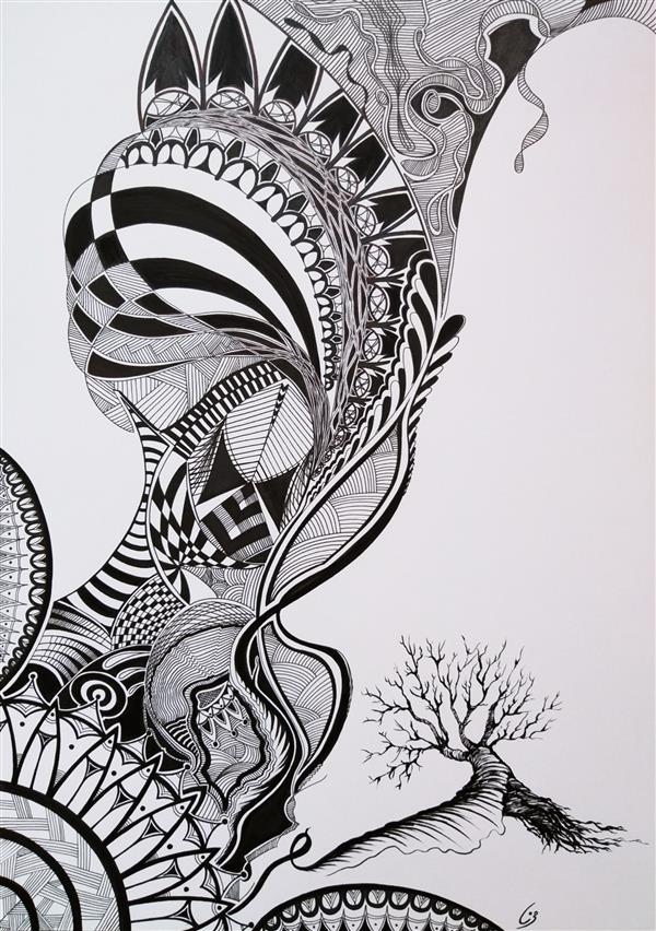 هنر نقاشی و گرافیک محفل نقاشی و گرافیک مینا نظامی Mina Nezami/ 1396/ ماژیک و راپید روی مقوا/نام اثر : رشد