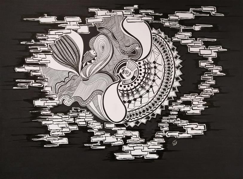 هنر نقاشی و گرافیک محفل نقاشی و گرافیک مینا نظامی Mina Nezami/ 1396/ ماژیک و راپید روی مقوا/ نام اثر : موتور زندگی