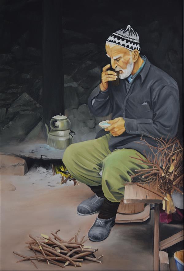 هنر نقاشی و گرافیک محفل نقاشی و گرافیک محمود شیخ حسینی #پیرمردخسته