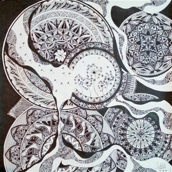 هنر نقاشی و گرافیک محفل نقاشی و گرافیک نازنین محمدی  سبک آزاد ماندالا  نام اثر:قاصدک