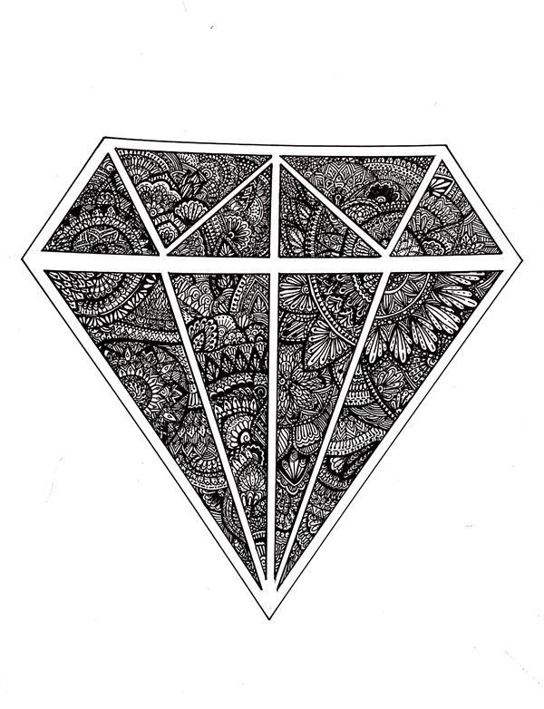 هنر نقاشی و گرافیک محفل نقاشی و گرافیک نسترن حمیدی الماس من💎 #ماندالا #الماس  #mandala# diamond# zentagle