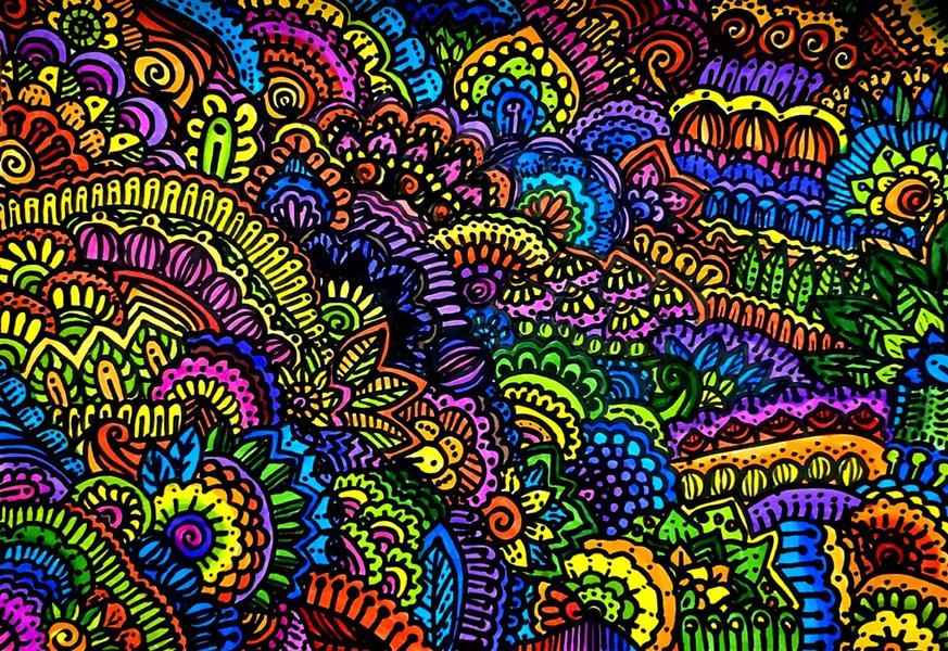 هنر نقاشی و گرافیک محفل نقاشی و گرافیک نسترن حمیدی رنگی رنگی😍❤️🧡💛💚💙💜  #ماندالا #زنتنگل #doodle #ماژیک #ماژیک_آبرنگ #mandala# zentangle
