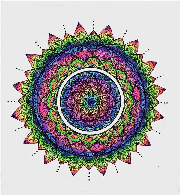 هنر نقاشی و گرافیک محفل نقاشی و گرافیک نسترن حمیدی ماندالا نئون💚💛🧡 #ماندالا #نئون #ماژیک #mandala #zentangle