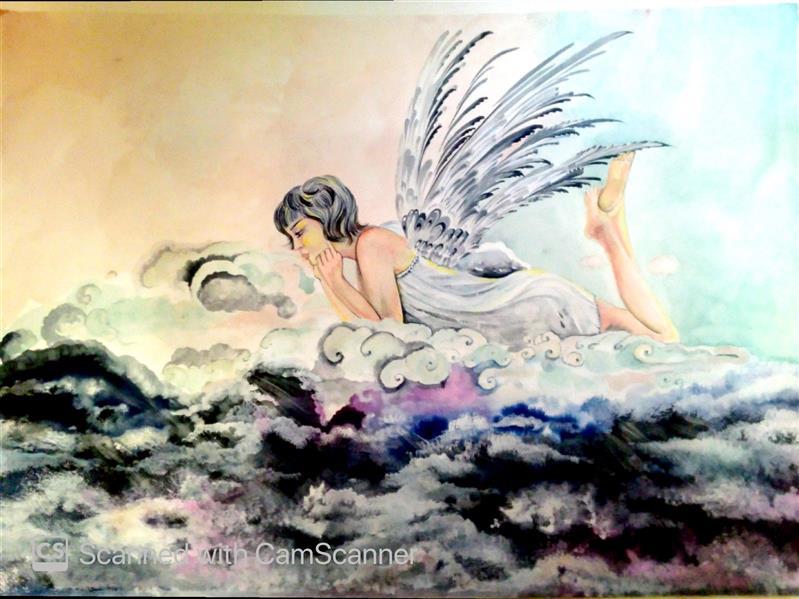 هنر نقاشی و گرافیک محفل نقاشی و گرافیک صبا شیخ ابو مسعودی فرشته سال ۹۹