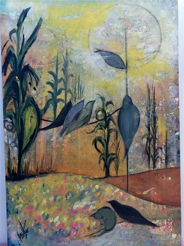 هنر نقاشی و گرافیک محفل نقاشی و گرافیک زهرا زمان زاده رنگ روغن و اکرلیک. ۱۳۹۶.طبیعت من.زهرا زمان زاده