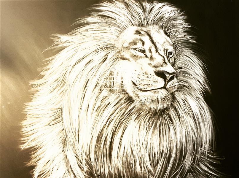 هنر نقاشی و گرافیک محفل نقاشی و گرافیک Farahnaz sharif سیاه قلم شیر خندان سال اثر ۱۳۹۶
