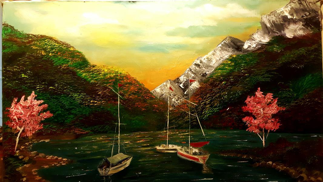 هنر نقاشی و گرافیک محفل نقاشی و گرافیک Farahnaz sharif جنگل بهار تکنیک رنگ روغن سال اثر ۱۳۹۶
