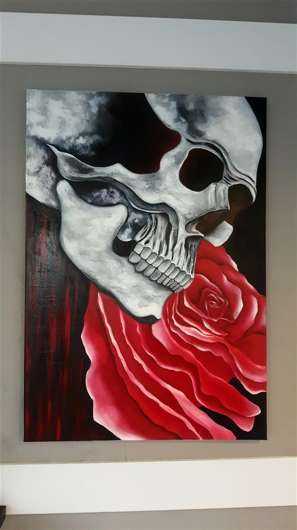 هنر نقاشی و گرافیک محفل نقاشی و گرافیک Farahnaz sharif مرگ و زندگی (پارادوکس) تکنیک رنگ روغن  من باریستا هستم این نقاشی رو درکنار مشتریها و رفیق هام که حس زیبا و انرژی مثبتشون رو به من منتقل میکردن کشیدم  تصور ذهنی از مرگ و زندگی تک تکشون سر و جمع شد و این اثر خلق شد.