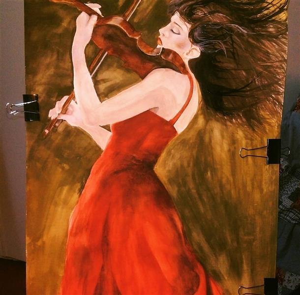 هنر نقاشی و گرافیک محفل نقاشی و گرافیک Farahnaz sharif نقاشی دختر ویلون زن تکنیک ابرنگ روی مقوا فابریانو ۱۰۰ در ۷۰ سال اثر ۱۳۹۰