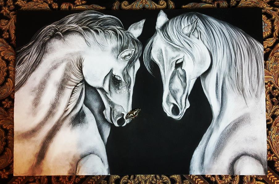 هنر نقاشی و گرافیک محفل نقاشی و گرافیک Farahnaz sharif تابلو بوم سیاه قلم دو اسب عاشق  با گچ و ذغال روی بوم کار کردم  کاملا دلی ... سال اثر ۱۳۹۹