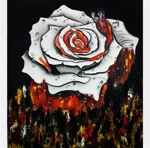هنر نقاشی و گرافیک محفل نقاشی و گرافیک Farahnaz sharif تابلو ترکیبی مدرن گل وشبنم تکنیک رنگ روغن و سیاه قلم  گل رنگی که بارون زده و رنگها سرازیر شده سال اثر ۱۳۹۸ رنگ روغن رو سیاه قلم کار شد