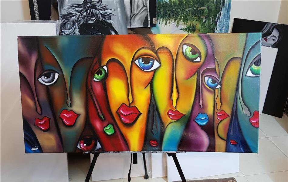 هنر نقاشی و گرافیک محفل نقاشی و گرافیک Farahnaz sharif تابلو رنگ روغن کوبیسم مکزیکی یک کار پر طرفدار و پر نشاط چهره های یک چشمی و صورتهایی که هر کدام یک رنگ نشان می دهند.  دنیا را به یک چشم دیدن و رنگ عوض کردن سال اثر ۱۳۹۷
