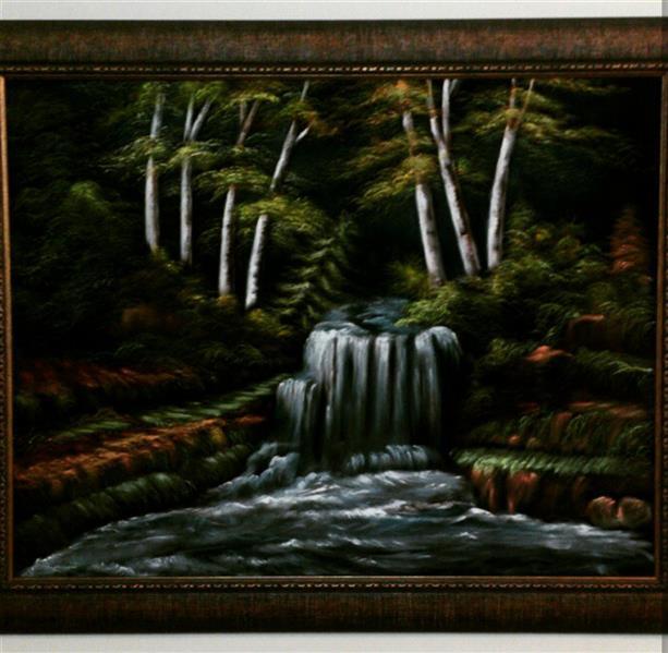 هنر نقاشی و گرافیک محفل نقاشی و گرافیک Farahnaz sharif تابلو رنگ روغن روی مخمل مشکی شب جنگل  برجسته ،عمق دار و پر از حس خوب