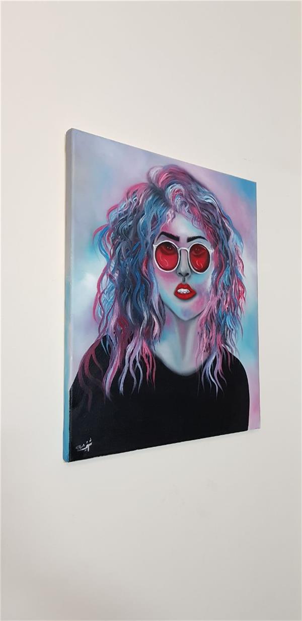 هنر نقاشی و گرافیک محفل نقاشی و گرافیک Farahnaz sharif Magenta lady بانوی سر خآبی تکنیک رنگ روغن مدرن فانتزی💜💗💙