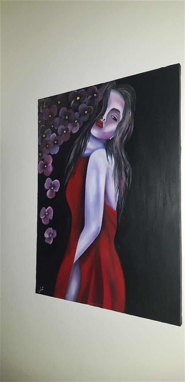 هنر نقاشی و گرافیک محفل نقاشی و گرافیک Farahnaz sharif تابلو رنگ روغن مدرن فانتزی بانوی بنفش  یک کار دلی و ذهنی سال اثر ۱۳۹۹