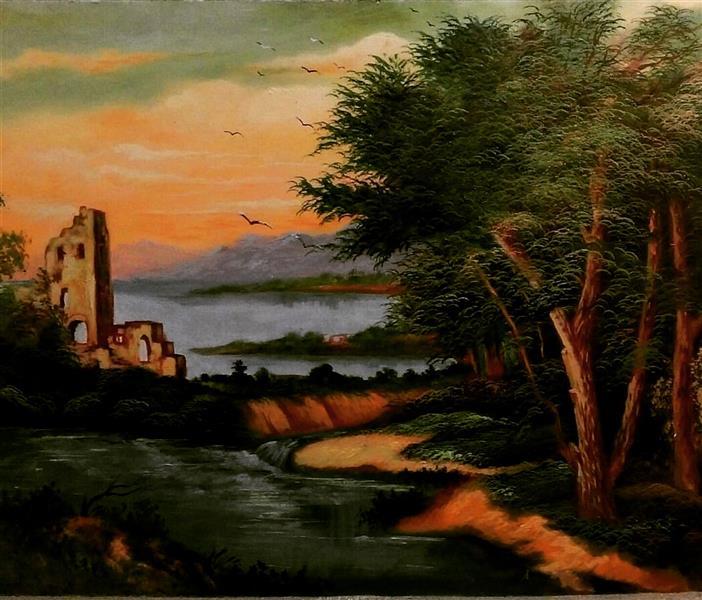 هنر نقاشی و گرافیک محفل نقاشی و گرافیک Farahnaz sharif غروب جنگل تکنیک رنگ روغن سال اثر ۱۳۸۶