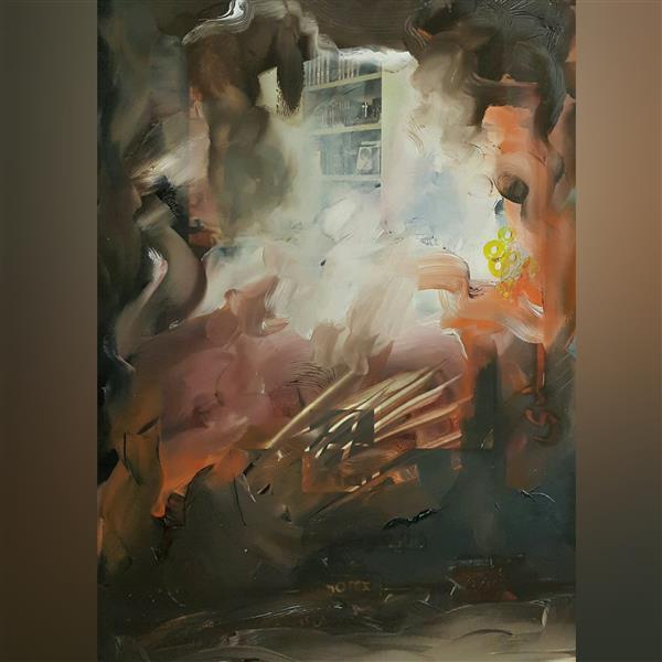 هنر نقاشی و گرافیک محفل نقاشی و گرافیک علی درخواه رنگ روغن روی کاغذ گلاسه سال۱۳۹۰ آبستره علی درخواه
