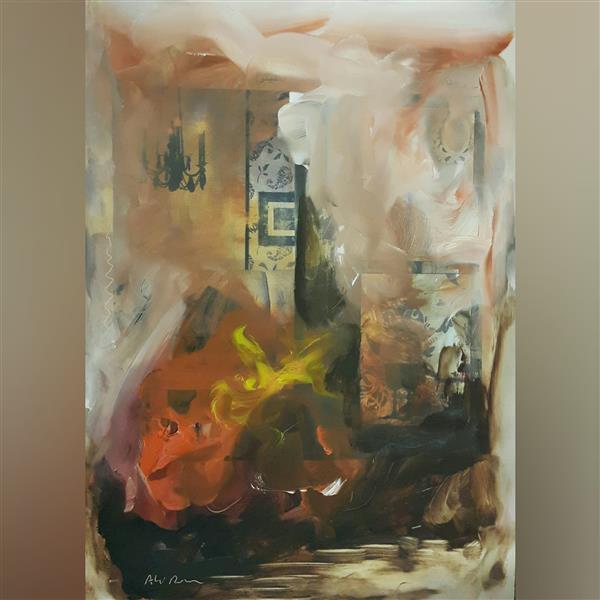 هنر نقاشی و گرافیک محفل نقاشی و گرافیک علی درخواه رنگ روغن روی کاغذگلآسه سال۱۳۹۰ آبستره علی درخواه
