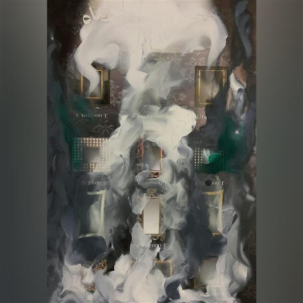 هنر نقاشی و گرافیک محفل نقاشی و گرافیک علی درخواه رنگ روغن روی کاغذ گلاس سال۱۳۹۰ آبستره علی درخواه