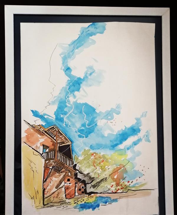 هنر نقاشی و گرافیک محفل نقاشی و گرافیک ثمین حاجی آقایی آبرنگ 1391 خانه ی روستایی ثمین حاجی آقایی