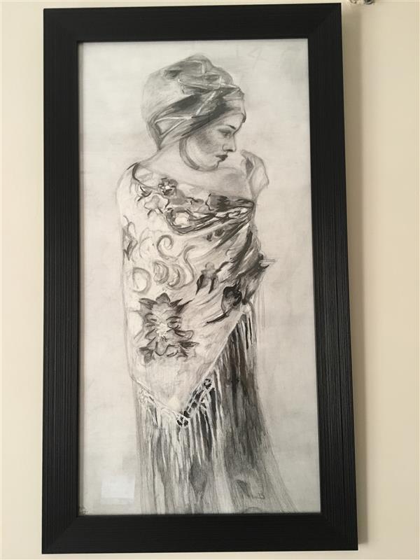 هنر نقاشی و گرافیک محفل نقاشی و گرافیک پگاه صادقى سياه قلم#92#دختر روستايي#پگاه صادقى