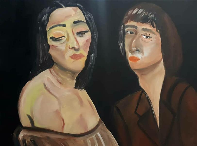 هنر نقاشی و گرافیک محفل نقاشی و گرافیک مه فام بهرامی دو زن رنگروغن روی بوم سال۹۹