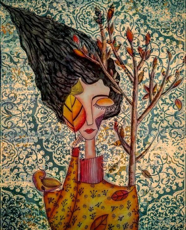 هنر نقاشی و گرافیک محفل نقاشی و گرافیک کیانا گل پرداز  نام اثر : دخت پاییز نام هنرمند : کیانا گلپرداز سال خلق اثر : 1398 تکنیک : آبرنگ و مدادرنگ