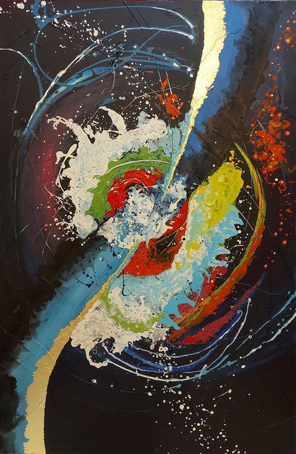 هنر نقاشی و گرافیک محفل نقاشی و گرافیک سعیده شاه حسینی #میکس مدیا#اکرلیک تکسچر ورق طلا#۹۹#راز کهکشان#سعیده شاه حسینی