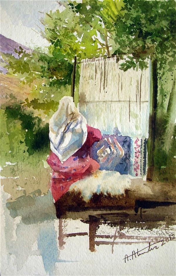هنر نقاشی و گرافیک محفل نقاشی و گرافیک امیر علمدار یزدی دختر #قالیباف اثر آبرنگ