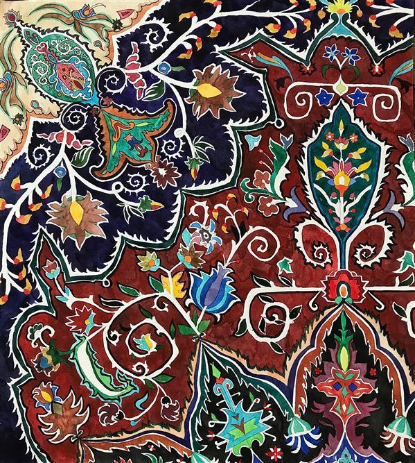 هنر نقاشی و گرافیک محفل نقاشی و گرافیک فرزاد شیری  طرح فرش  تکنیک ابرنگ طرح و ایده ذهنی و کپی نیست