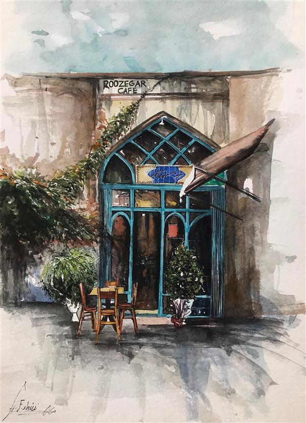هنر نقاشی و گرافیک محفل نقاشی و گرافیک فرزاد شیری  تکنیک ابرنگ  کافه روزگار اصفهان