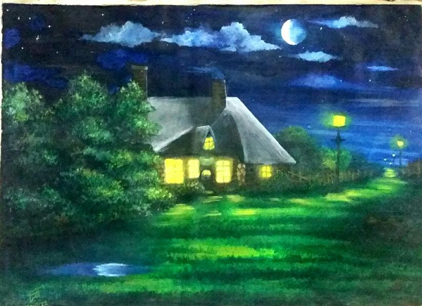 هنر نقاشی و گرافیک محفل نقاشی و گرافیک پونه شب مهتابی. رنگ روغن