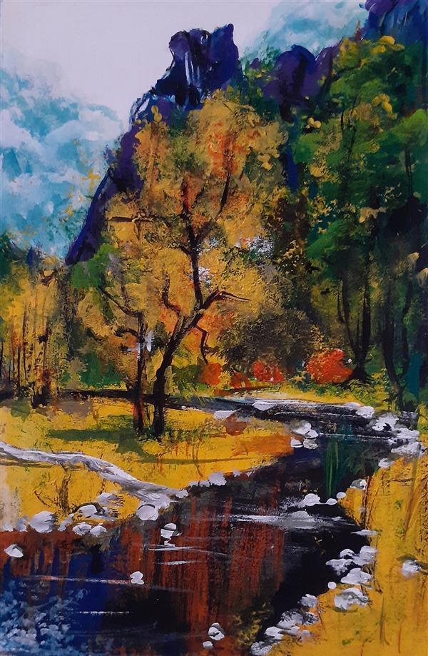 هنر نقاشی و گرافیک محفل نقاشی و گرافیک Jas نقاشی منظره پاییزی تکنیک ایحاد بافت با رنگ اکرلیک و گواش همراه با قاب اثر سال ۱۳۹۹