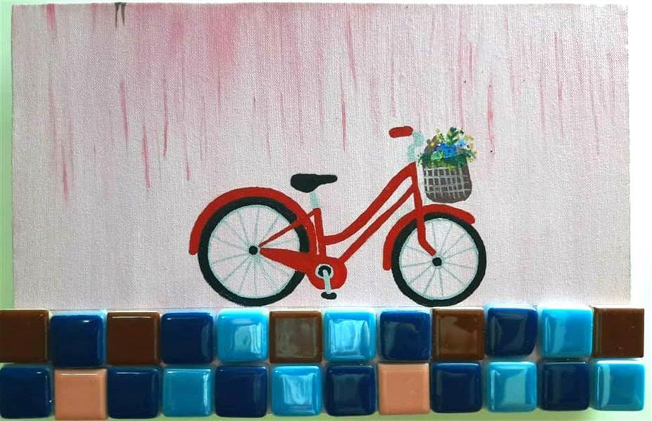هنر نقاشی و گرافیک محفل نقاشی و گرافیک الهه #دوچرخه#کلاژ#اکریلیک#بوم